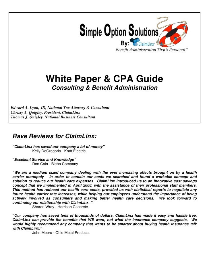 White Paper & CPA Guide                       Consulting & Benefit Administration   Edward A. Lyon, JD, National Tax Attor...