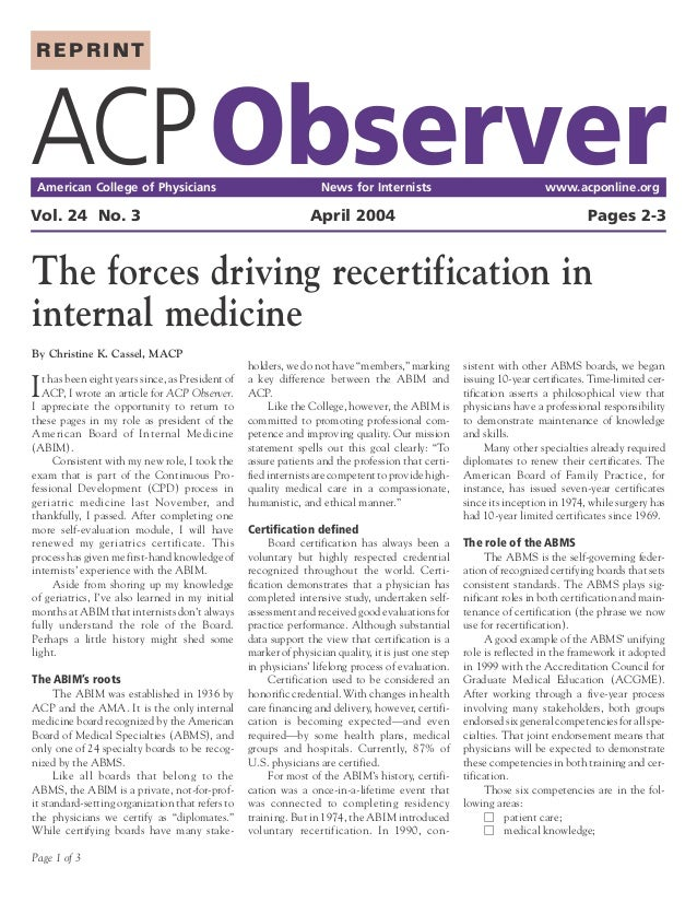 REPRINTACP Observer American College of Physicians                                     News for Internists                ...