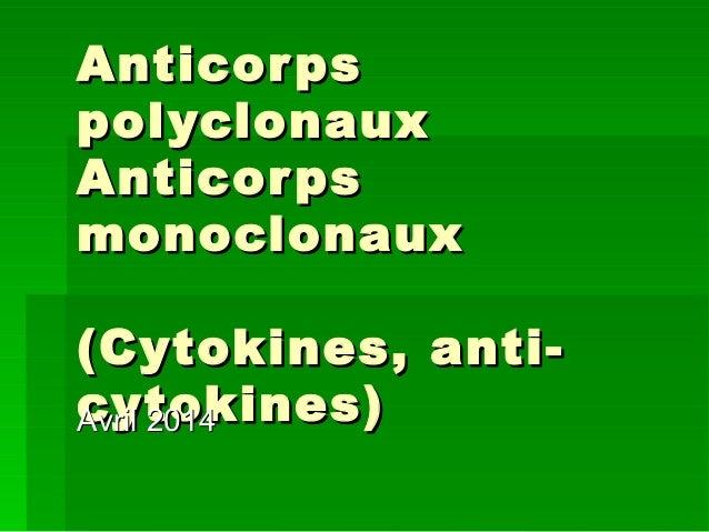 Acs polyclonaux et monoclonaux master 2014