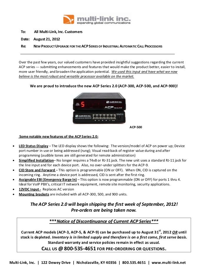 To:   AllMulti‐Link,Inc.Customers            Date: August21,2012            Re:    NEWPRODUCTUPGRADEFO...
