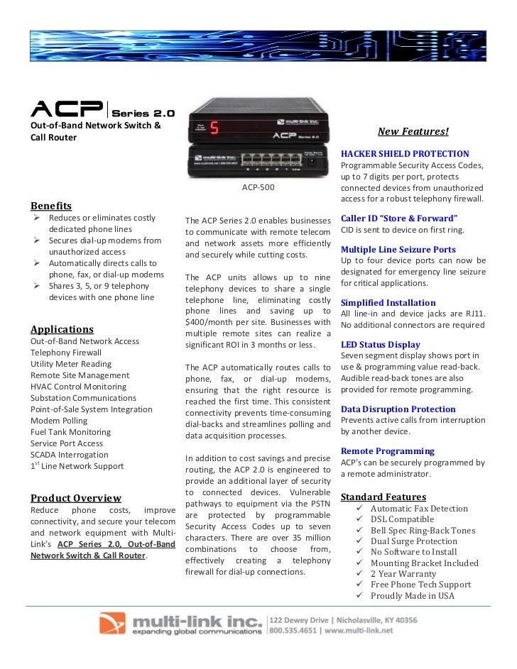 Acp series 2.0 data sheet