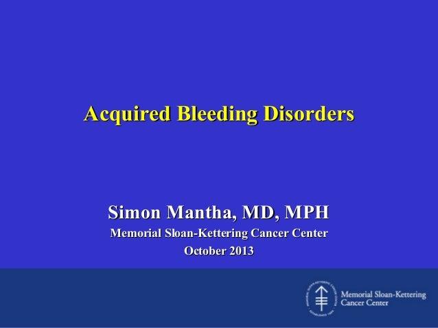 Acquired bleeding disorders