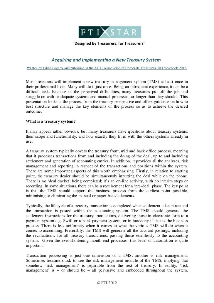 Acquiring & implementing a new treasury system
