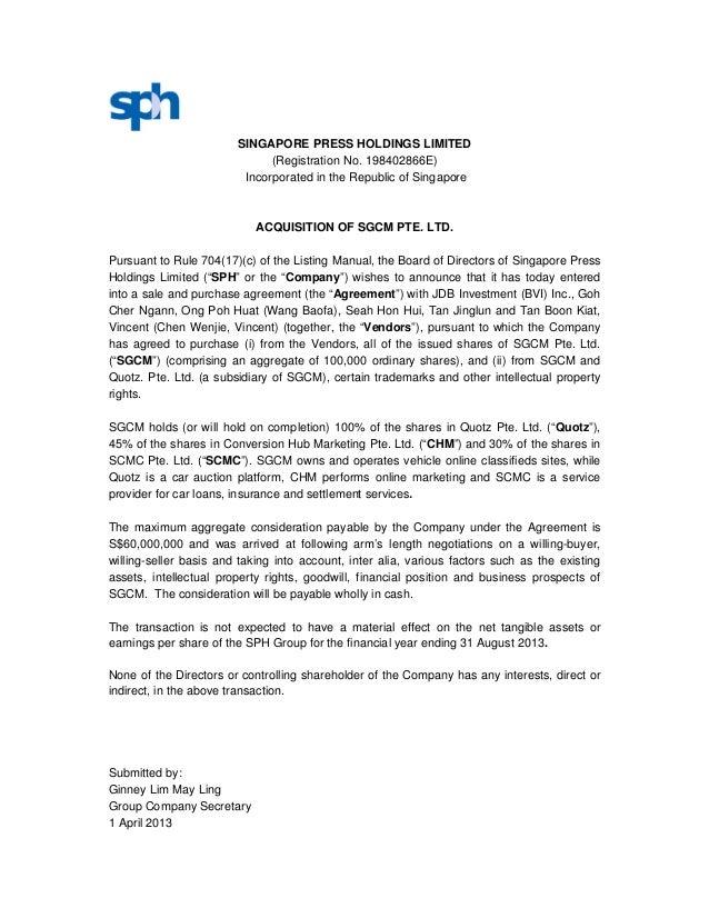 SINGAPORE PRESS HOLDINGS LIMITED                              (Registration No. 198402866E)                         Incorp...