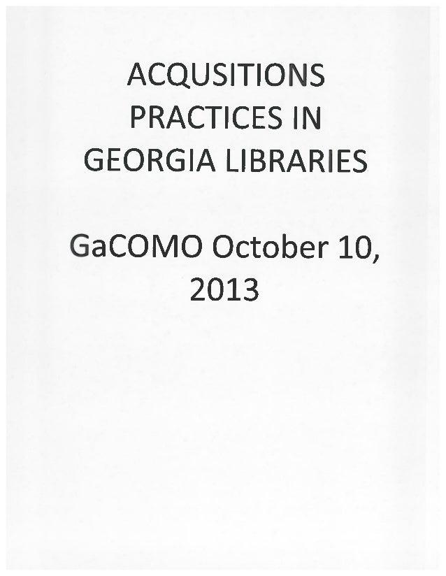 Acquisitions Practices in Georgia Libraries: COMO2013