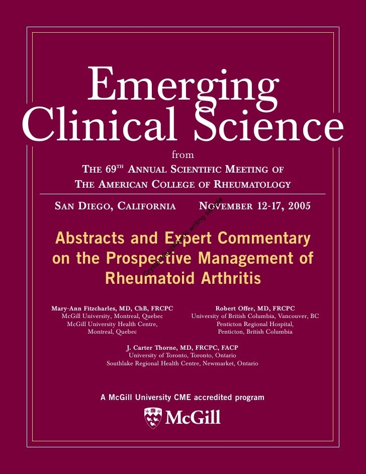 Emerging Clinical Science         from          THE 69TH ANNUAL SCIENTIFIC MEETING OF         THE AMERICAN COLLEGE OF RHEU...