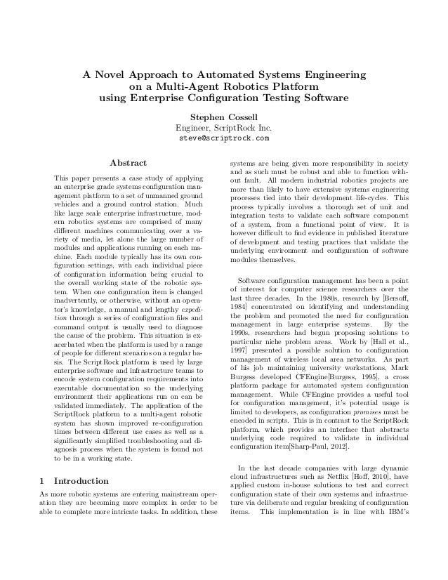 A Novel Approach to Automated Systems Engineering                     on a Multi-Agent Robotics Platform               usi...