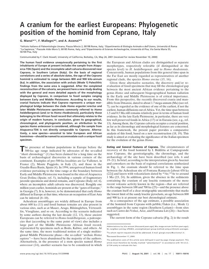 A cranium for the earliest Europeans: Phylogenetic position of the hominid from Ceprano, Italy G. Manzi*†‡, F. Mallegni*§,...