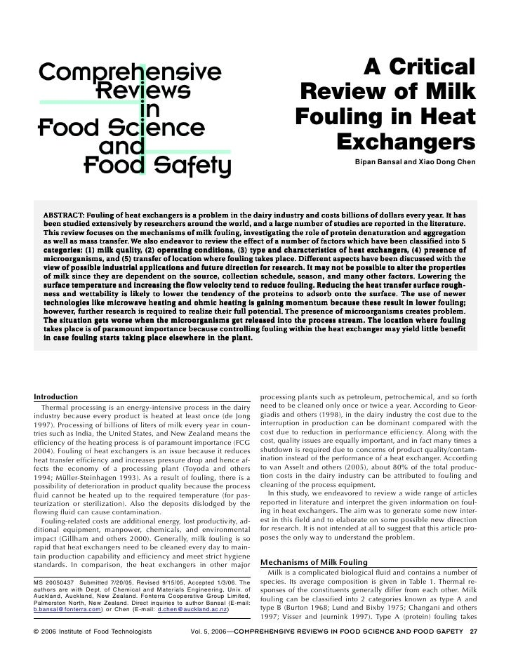 A critical review of milk fouling in heat exchangers