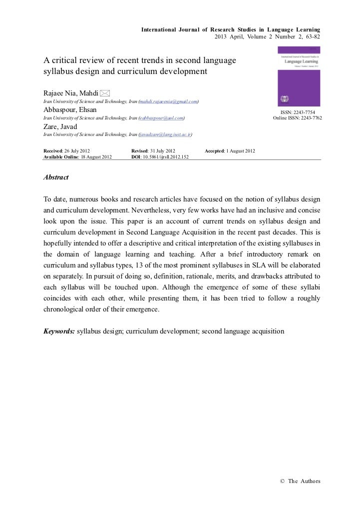A critical review of recent trends in second language syllabus design and curriculum development