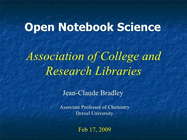 ACRL Open Notebook Science talk