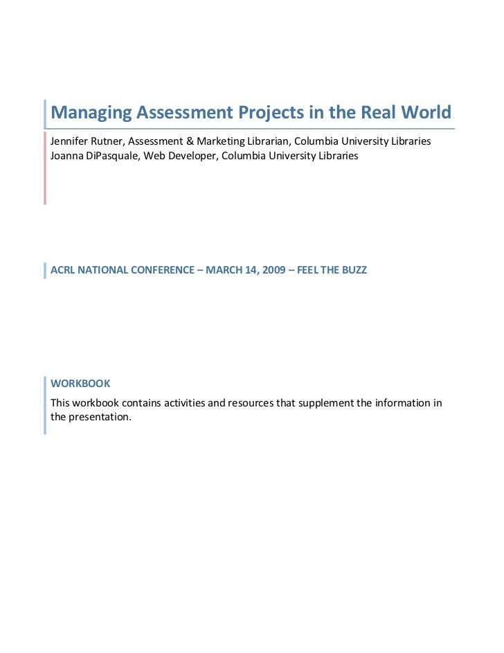 Assessment Project Management in the Real World - Work Book