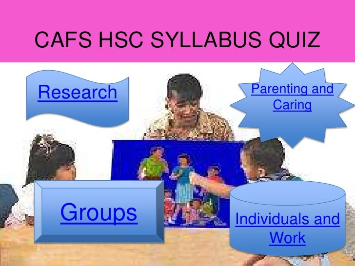 CAFS HSC SYLLABUS QUIZResearch         Parenting and                    Caring  Groups       Individuals and              ...