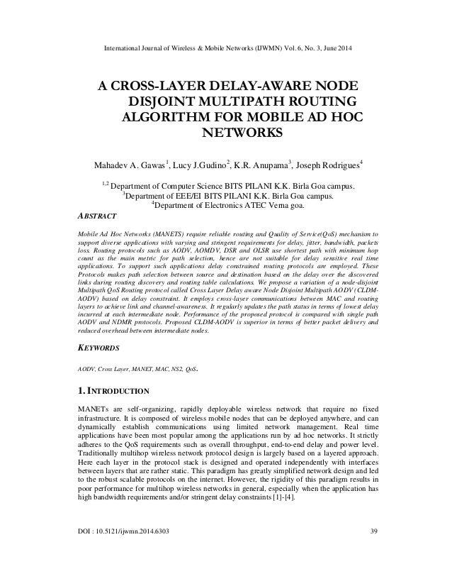 International Journal of Wireless & Mobile Networks (IJWMN) Vol. 6, No. 3, June 2014 DOI : 10.5121/ijwmn.2014.6303 39 A CR...