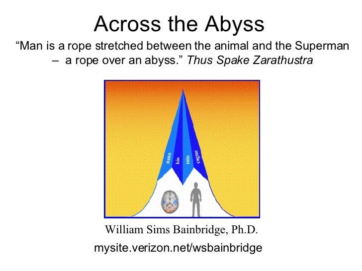 "Across the Abyss  William Sims Bainbridge, Ph.D. mysite.verizon.net/wsbainbridge "" Man is a rope stretched between the ani..."
