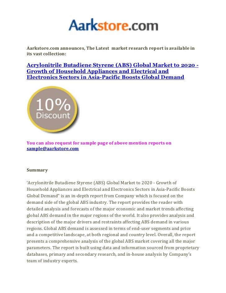 Acrylonitrile butadiene styrene (abs) global market to 2020