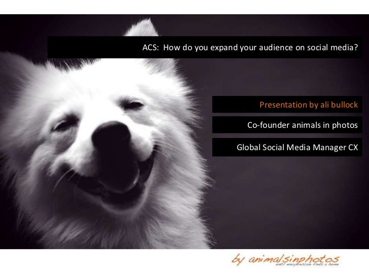 ACS: How do you expand your audience on social media?                            Presentation by ali bullock              ...