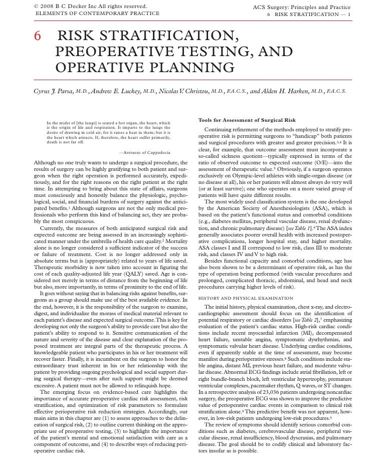 Acs0006 Risk Stratification, Preoperative Testing, And Operative Planning