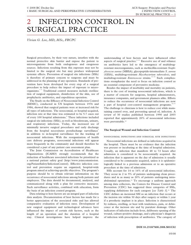 Acs0102 Infection Control In Surgical Practice