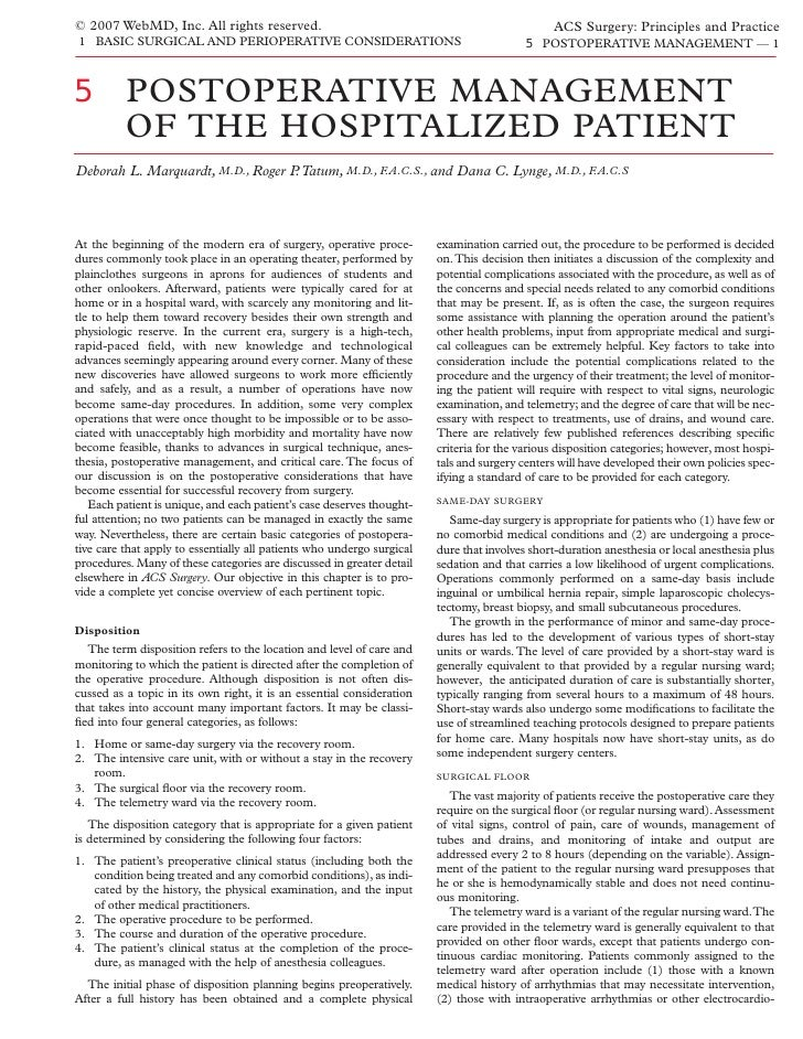 A C S0105  Postoperative  Management Of The  Hospitalized  Patient