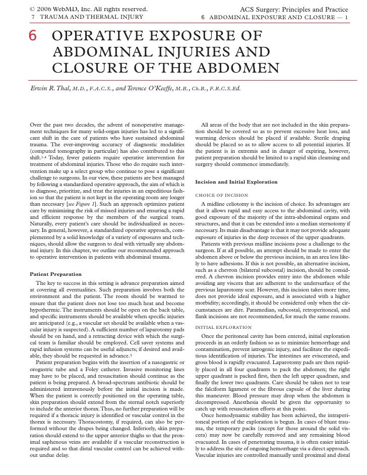 Acs0706 Operative Exposure Of Abdominal Injuries And Closure Of The Abdomen