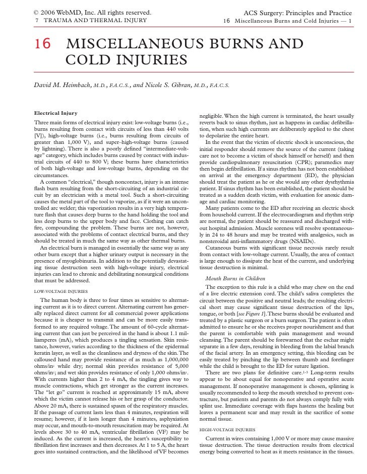 Acs0716 Miscellaneous Burns And Cold Injuries