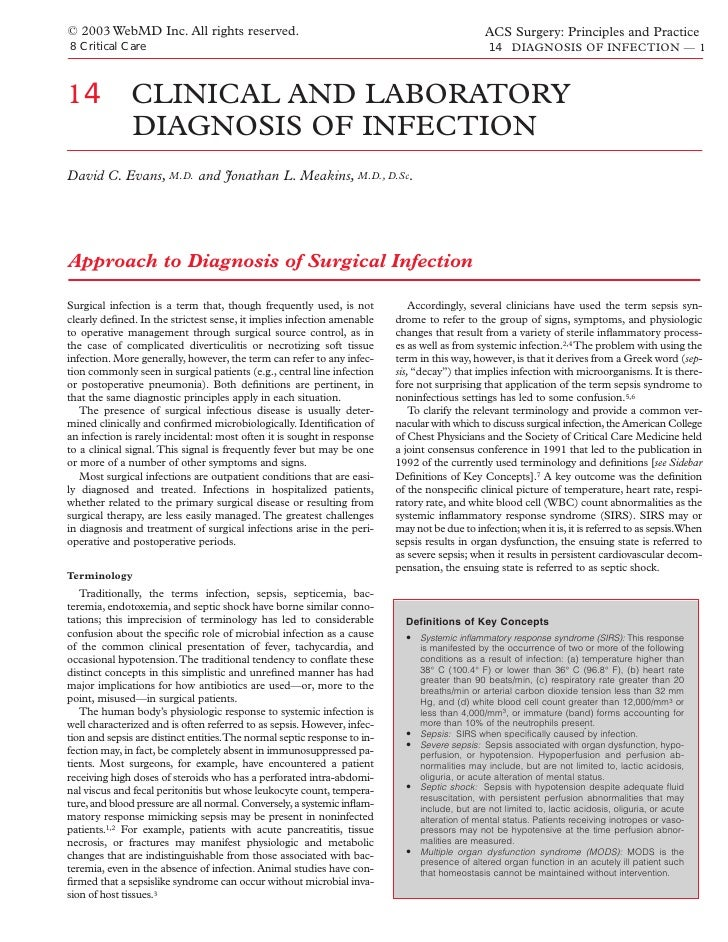 Acs0814 Clinical And Laboratory Diagnosis Of Infection