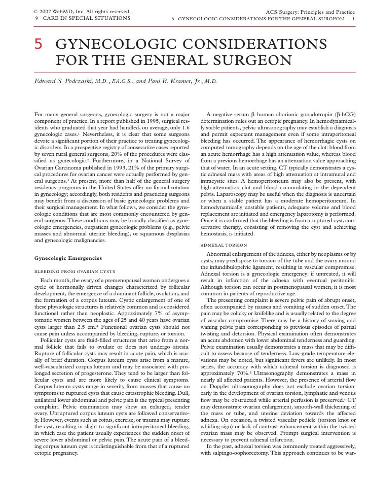 Acs0905 Gynecologic Considerations For The General Surgeon
