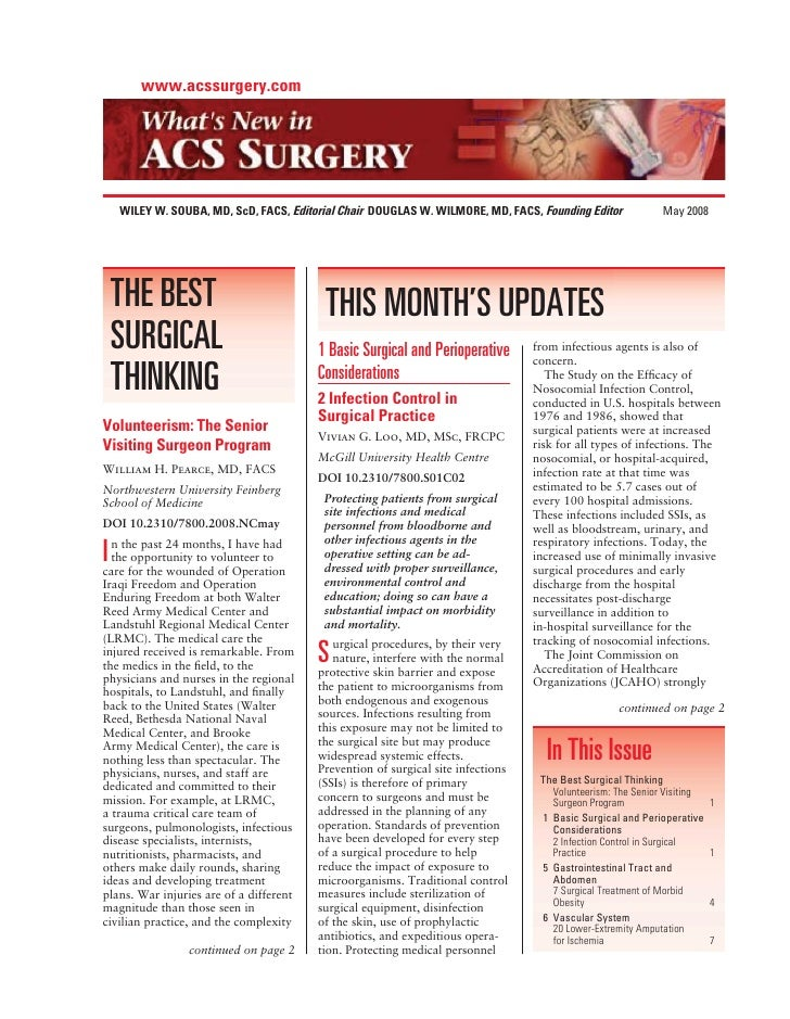 www.acssurgery.com         WILEY W. SOUBA, MD, ScD, FACS, Editorial Chair DOUGLAS W. WILMORE, MD, FACS, Founding Editor   ...
