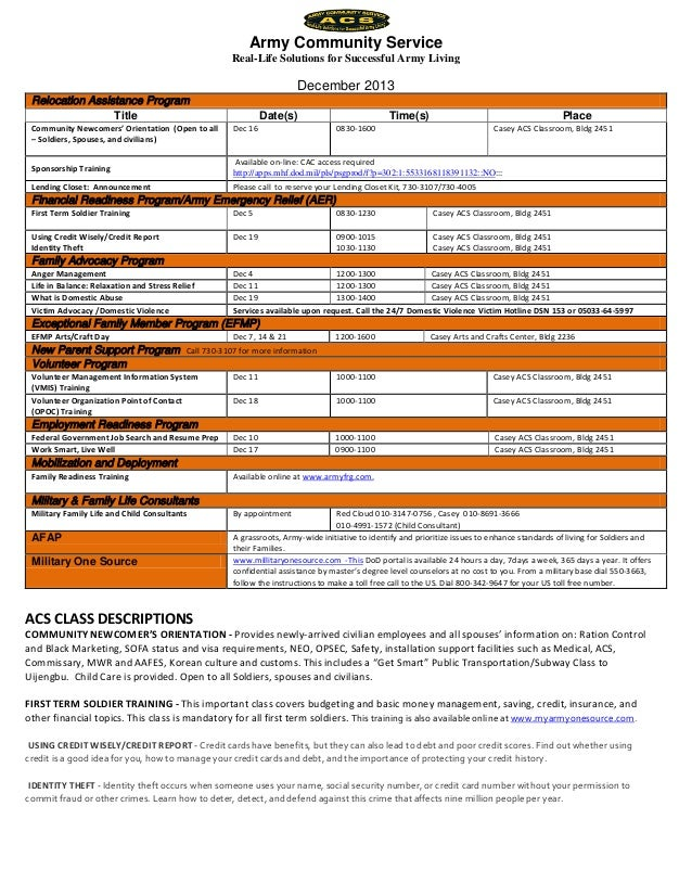 ACS Classes and Events December 2013