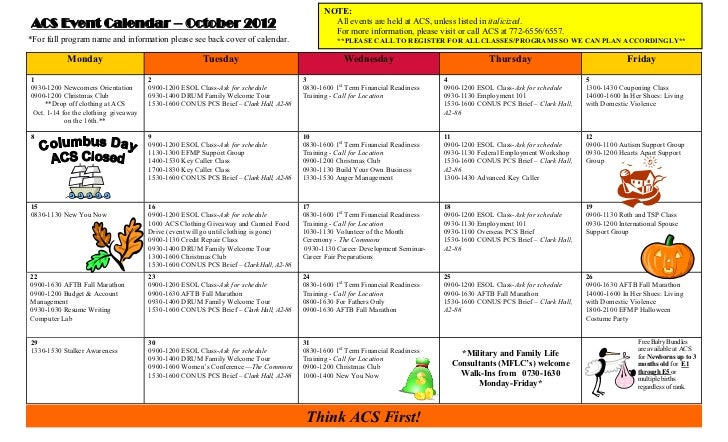 NOTE:ACS Event Calendar – October 2012                                                               All events are held a...