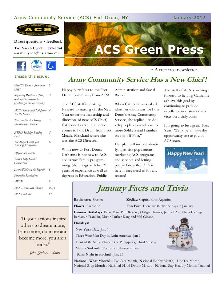 Army Community Service (ACS) Fort Drum, NY                                                                             Jan...