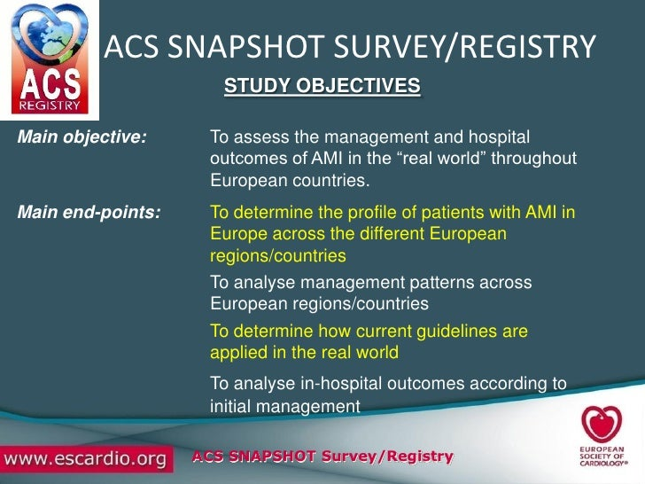 ACS SNAPSHOT SURVEY/REGISTRY                       STUDY OBJECTIVES  Main objective:     To assess the management and hosp...