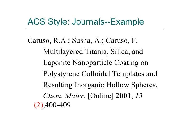 ACS Style: Journals--Example <ul><li>Caruso, R.A.; Susha, A.; Caruso, F.  </li></ul><ul><li>Multilayered Titania, Silica, ...