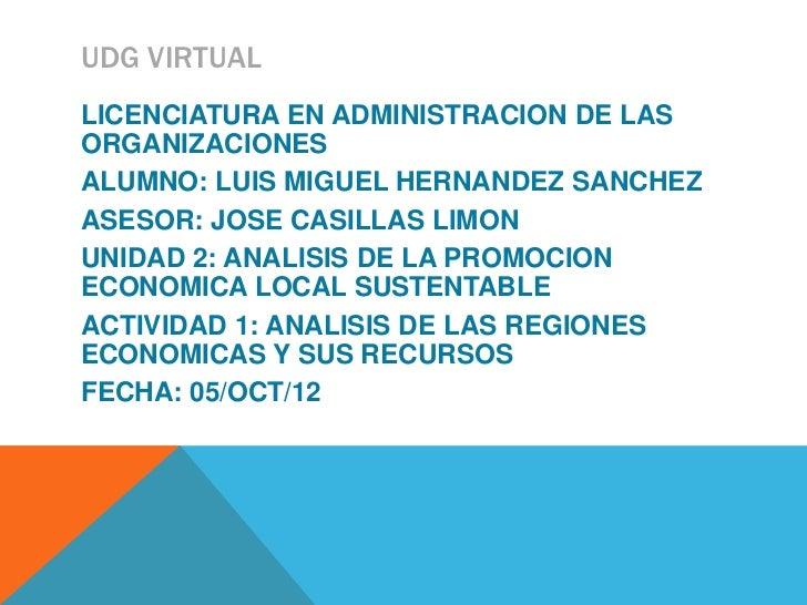 UDG VIRTUALLICENCIATURA EN ADMINISTRACION DE LASORGANIZACIONESALUMNO: LUIS MIGUEL HERNANDEZ SANCHEZASESOR: JOSE CASILLAS L...