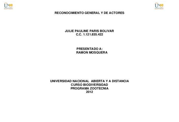 RECONOCIMIENTO GENERAL Y DE ACTORES       JULIE PAULINE PARIS BOLIVAR              C.C. 1.121.835.422             PRESENTA...
