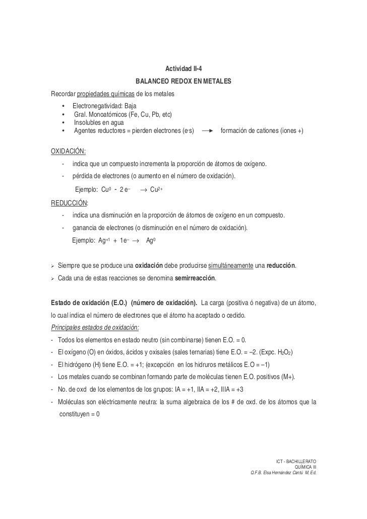 Actividad II-4                                 BALANCEO REDOX EN METALES Recordar propiedades químicas de los metales     ...