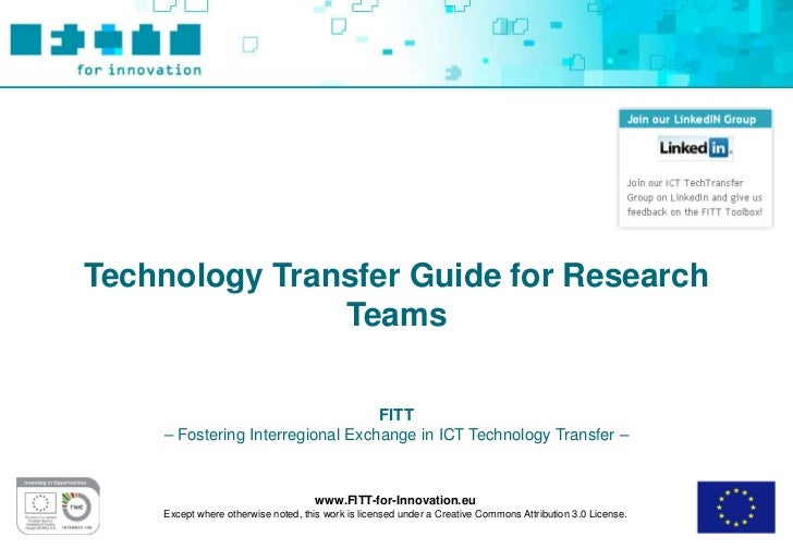 Technology Transfer Guide for Research               Teams                                  FITT    – Fostering Interregio...