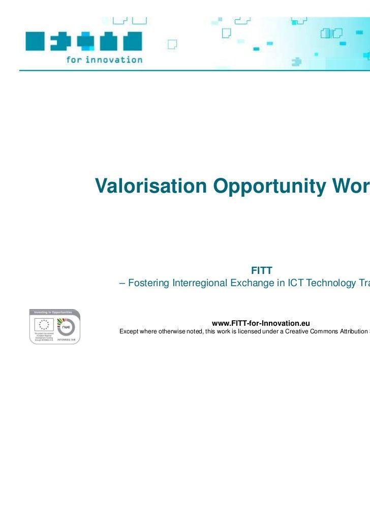 FITT Toolbox: Valorisation Opportunity Workshop