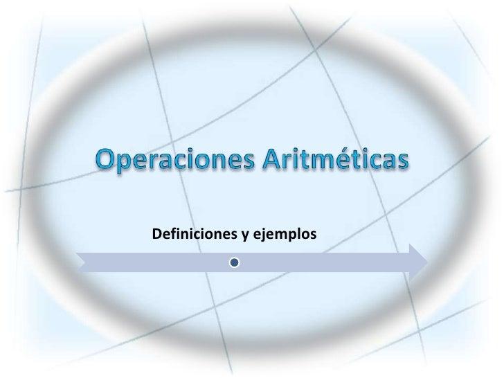 Operaciones Aritméticas<br />
