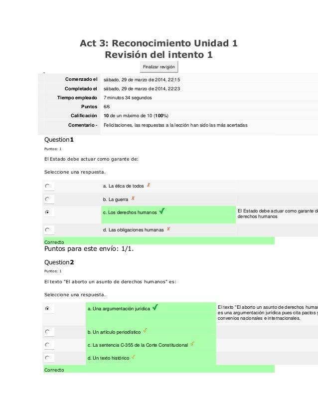 Act 3: Reconocimiento Unidad 1 Revisión del intento 1 Finalizar revisión Comenzado el sábado, 29 de marzo de 2014, 22:15 C...