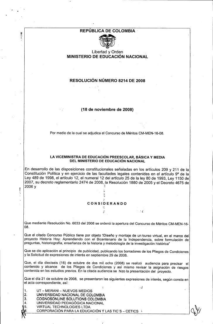 Acta De Adjudicacion MEN