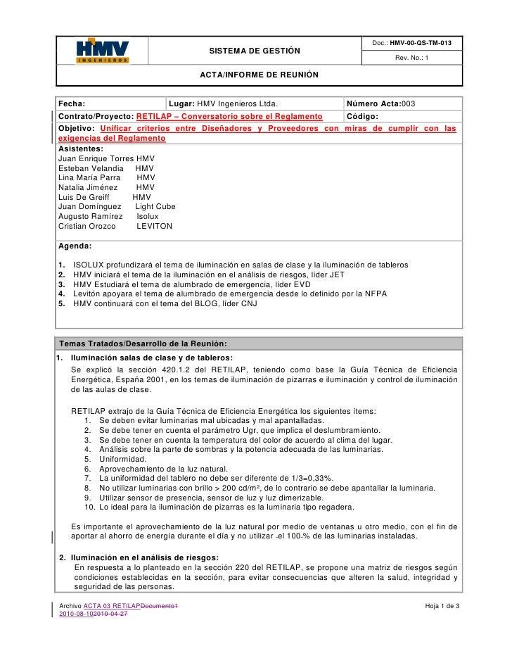 Doc.: HMV-00-QS-TM-013                                           SISTEMA DE GESTIÓN                                       ...