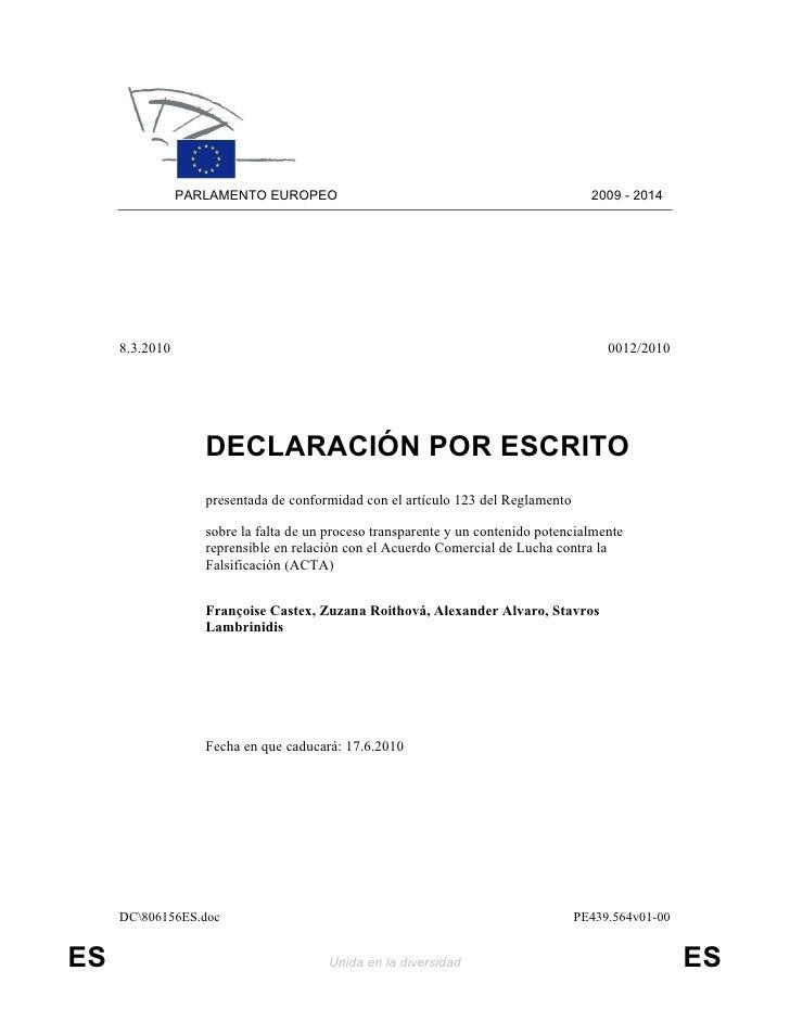 PARLAMENTO EUROPEO                                                  2009 - 2014          8.3.2010                         ...