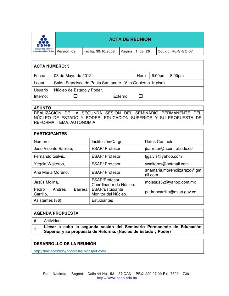 ACTA DE REUNIÓN             Versión: 02     Fecha: 30/10/2008     Página: 1 de 26     Código: RE-S-GC-07ACTA NÚMERO: 3Fech...