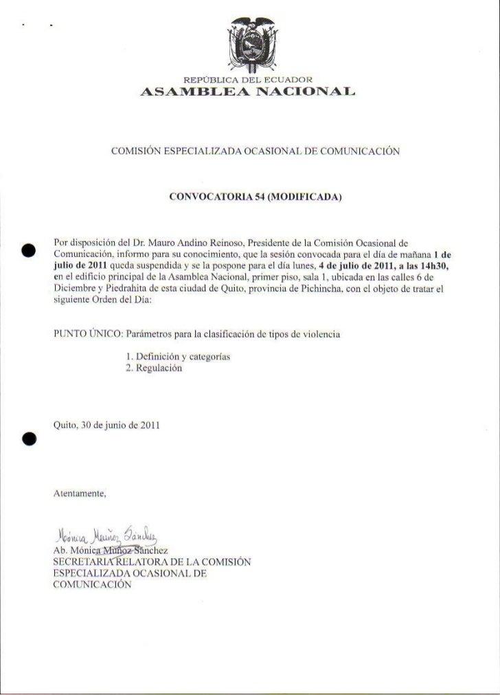 Sesión Ocasional de Comunicación Acta No.54 modificada 04 07 2011
