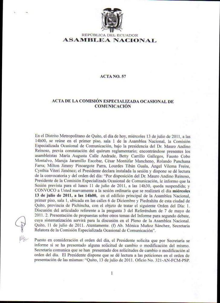 Acta 57 Comisión Ocasional de Comunicación