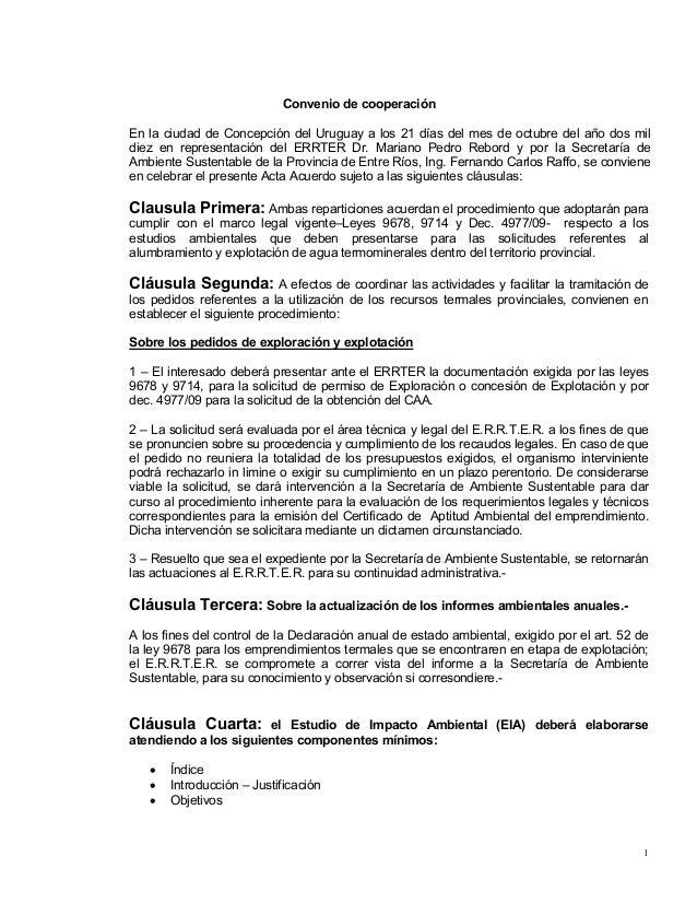 1 Convenio de cooperación En la ciudad de Concepción del Uruguay a los 21 días del mes de octubre del año dos mil diez en ...