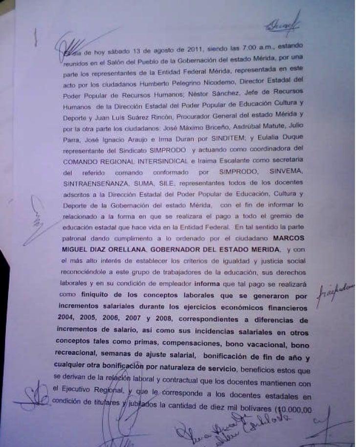 Acta acuerdo para la cancelación de los 10000 Bs a los docentes de Mérida