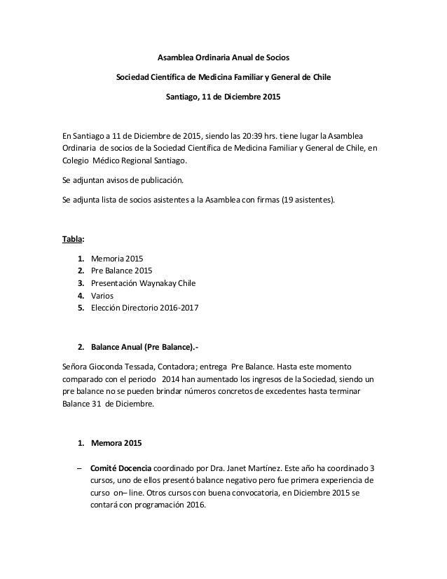 Acta asamblea ordinaria de socios 11 dic 2015 for Acta familiar